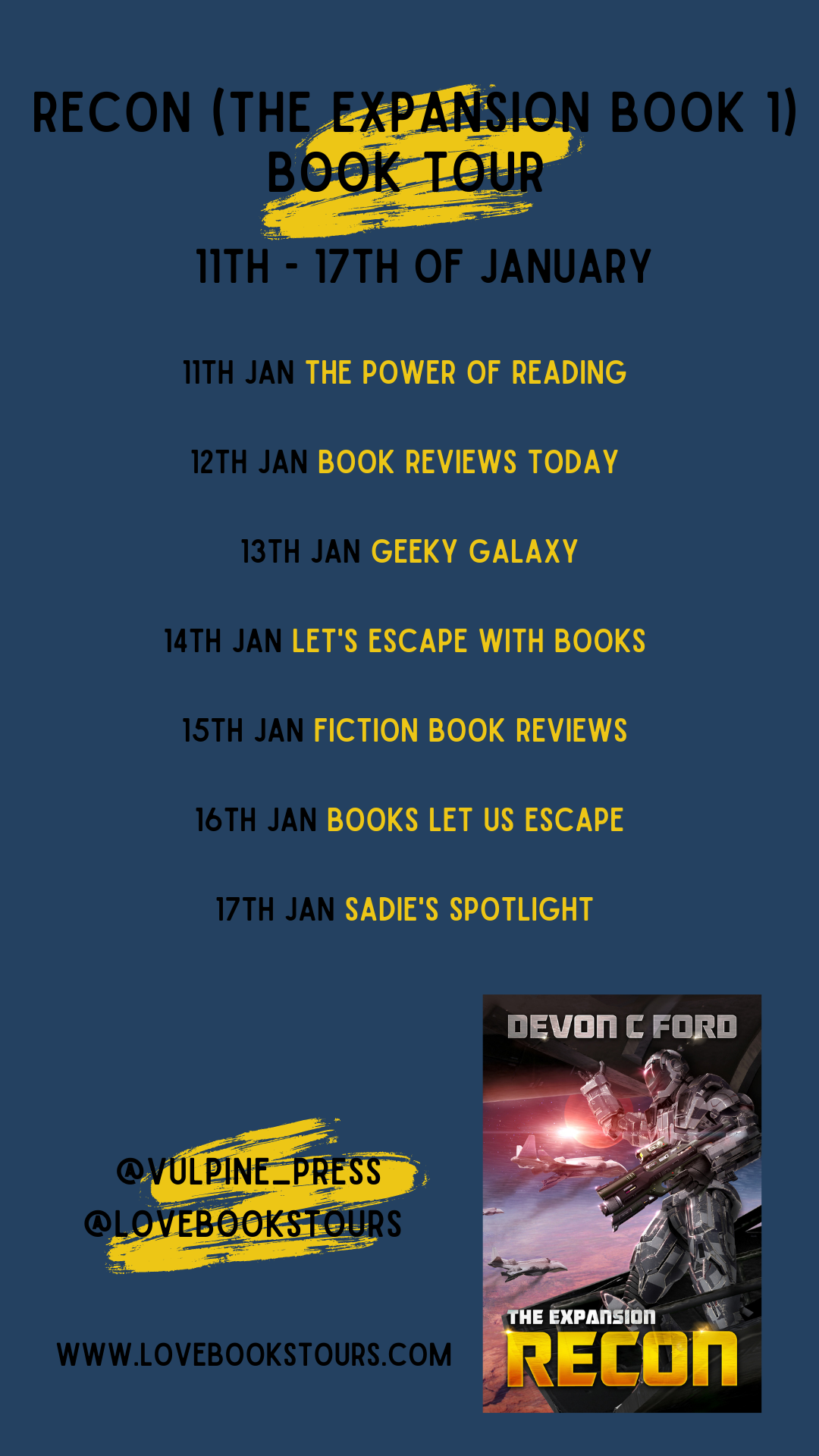Recon (The Expansion Book 1) - Schedule