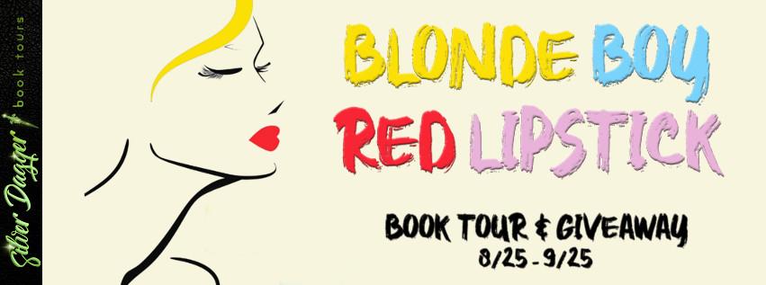 blonde boy red lipstick banner